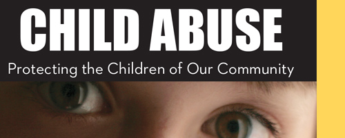 Image of top half of brochure about child abuse is a crime