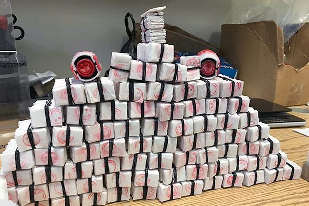 stack of seized drugs