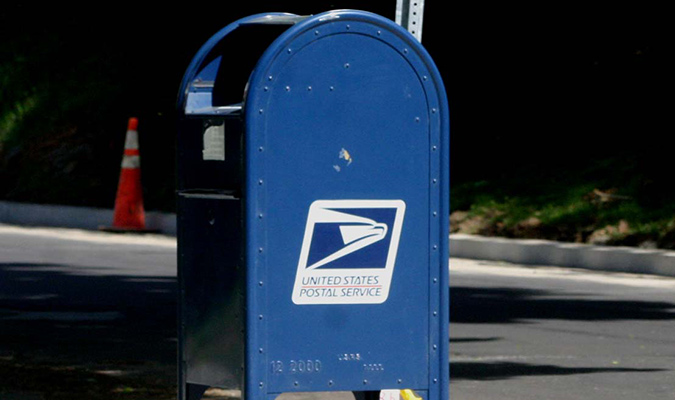 image of blue USPS freestanding mail box