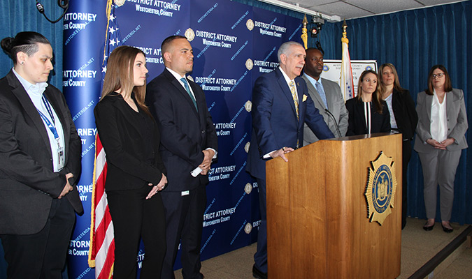 District Attorney Anthony A. Scarpino Jr. and others at press conference