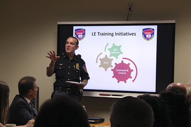 image of school resource officer presenting to a group